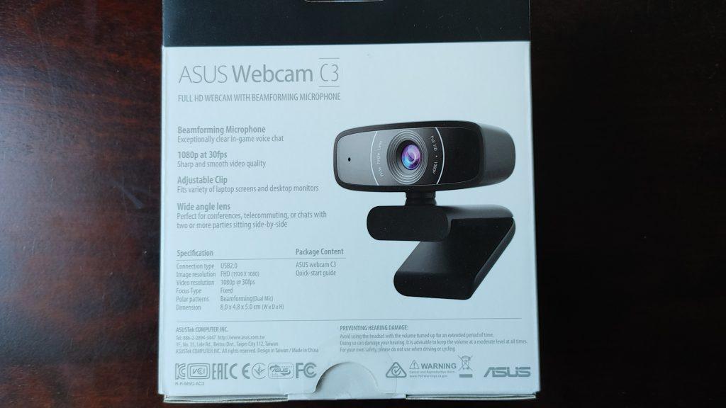 ASUS Webcam C3の箱の裏面